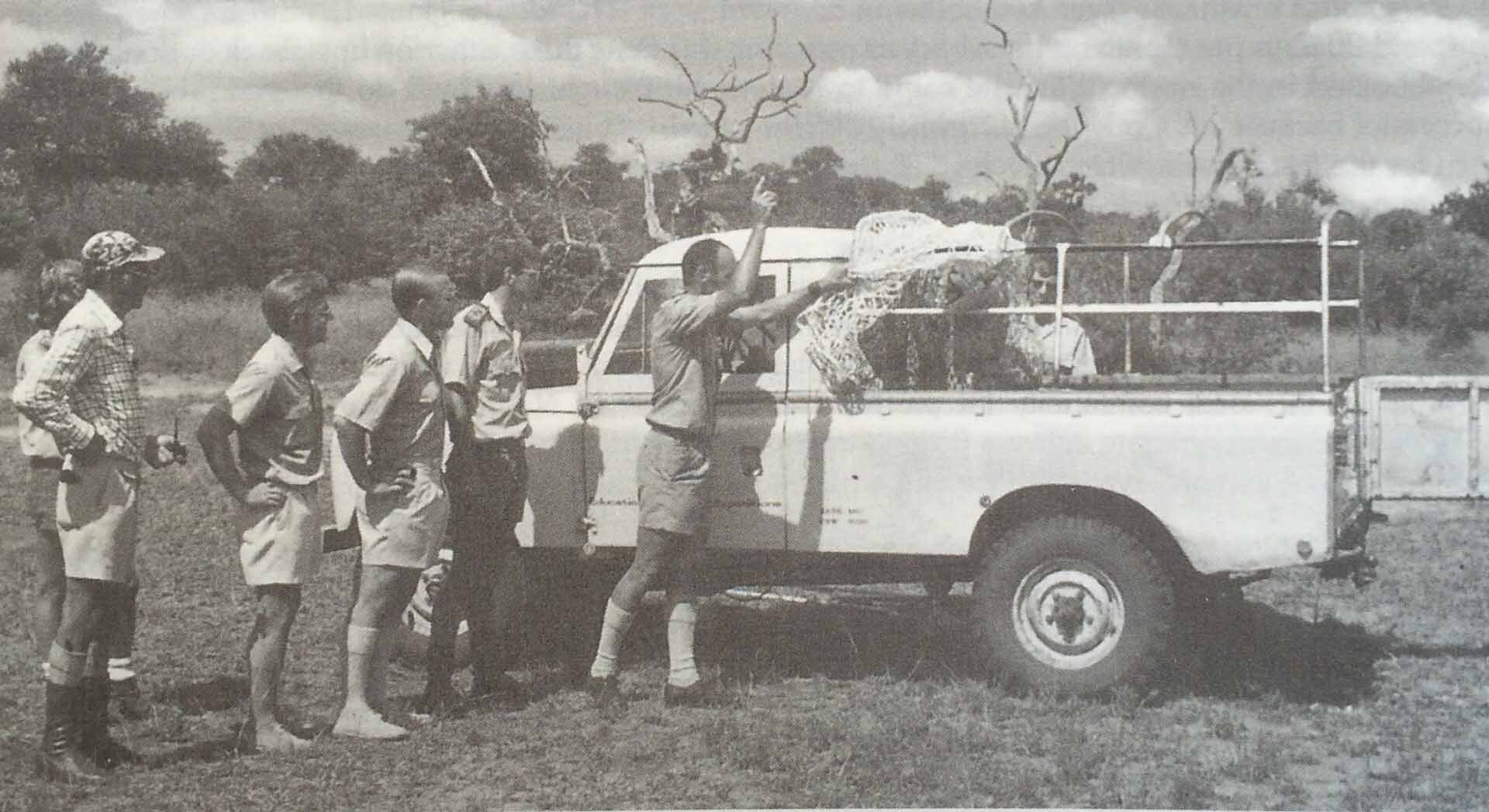 Dr Eddie Young, with raised hand, suggested in 1976 that the Klaserie Reserve be made available as a Cheetah sanctuary.